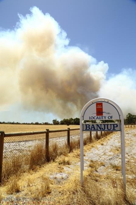A bushfire rages at Banjup, Western Australia.